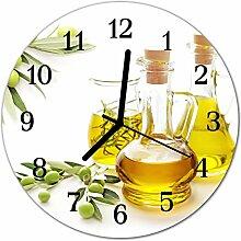 DekoGlas Glasuhr 'Öl gelb' Uhr aus