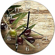 DekoGlas Glasuhr 'Oliven braun' Uhr aus