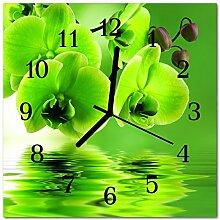 DekoGlas Glasuhr 'Orchidee grün' Uhr aus