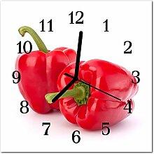 DekoGlas Glasuhr 'Paprika Rot' Uhr aus