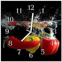 DekoGlas Glasuhr 'Paprika schwarz' Uhr aus