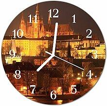DekoGlas Glasuhr 'Prag gelb' Uhr aus