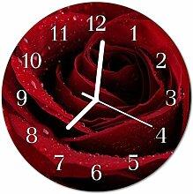 DekoGlas Glasuhr 'Rose rot' Uhr aus