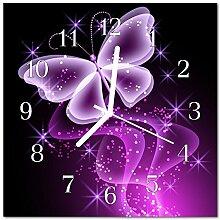 DekoGlas Glasuhr 'Schmetterling violett'
