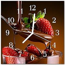 DekoGlas Glasuhr 'Schokolade Erdbeeren