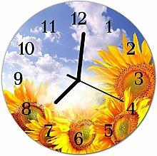 DekoGlas Glasuhr 'Sonnenblumen gelb' Uhr