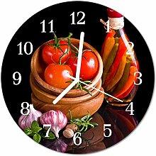 DekoGlas Glasuhr 'Tomaten Knoblauch Rot'