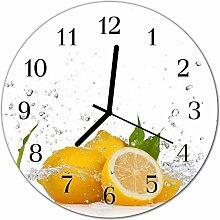 DekoGlas Glasuhr 'Zitronen gelb' Uhr aus