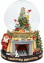 Dekohelden24 Schneekugel mit Santa am Kamin und