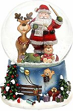 Dekohelden24 Schneekugel mit Santa, Elch und