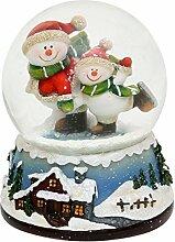 Dekohelden24 Schneekugel mit Schneemann-Duo auf