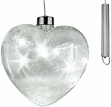 dekojohnson Christbaumdeko LED-Glas-Herz Glitter