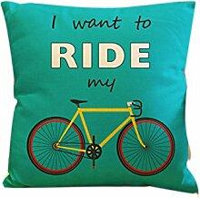Dekokissen Fall Home Office Aufkleber Home Hotel Textil Geschenk Kissen Fall Abdeckung Grüne Basis Fahrrad