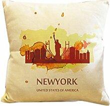 Dekokissen Fall Home Office Aufkleber Home Hotel Textil Geschenk Kissen Fall Abdeckung New York