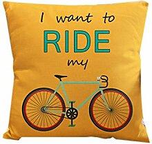 Dekokissen Fall Home Office Aufkleber Home Hotel Textil Geschenk Kissen Fall Abdeckung Gelb Sockel Fahrrad