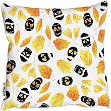 Dekokissen Halloween-Muster mit Kürbissen,