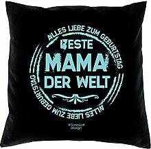 Dekokissen Kissen mit Füllung tolles Geburtstagsgeschenk Jubiläum-Geschenk Familie Beste Mama Papa der Welt verschiedene Motive in trendigen Farben