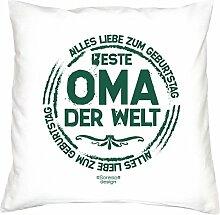 Dekokissen Kopfkissen Geburtstag Motiv Beste Oma der Welt Geschenkidee, Geburtstagsgeschenk, mit Kissenfüllung Größe 40 X 40 cm