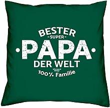 Dekokissen Kopfkissen zum Vatertag Motiv: Bester Papa der Welt tolle Geschenkidee, Geburtstagsgeschenk Kissen Größe 40X40 cm Farbe:dunkelgrün