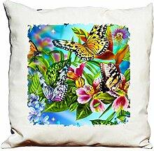 Dekokissen Schmetterlinge und Blumen 2
