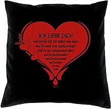 Dekokissen Sofakissen mit Füllung Ich liebe Dich Größe 40x40 cm Valentinstag Geschenk für Sie und Ihn Farbe: schwarz