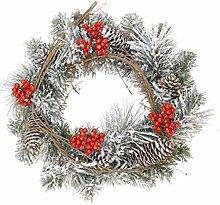 Dekokranz mit Kunstschnee rot Beeren 30cm Türkranz Weihnachtskranz Deko Kranz Adventskranz dekorier