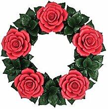 Dekokranz - Rosen Rot - Keramikblumen - Hausdeko -