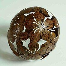 Dekokugel Blume Metall braun D 10 cm Gartenkugel
