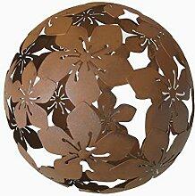 Dekokugel Blume Metall braun D 20 cm Gartenkugel