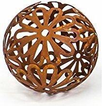 Dekokugel Flores 19 cm Metall Rostbraun