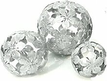 Dekokugel Flower 3-er Set 10/15/20 cm Metall Silber