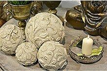 Dekokugel Valo Creme Weiß Keramik Shabby Chic Ø