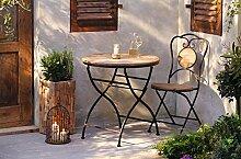 Dekoleidenschaft Gartentisch aus Metall & Holz im
