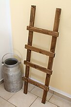 Dekoleiter Handtuchhalter, vintage, shabby chic Holz 118 x 39 x 5 cm, dunkelbraun