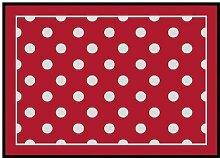 Dekolust Fußmatte Waschbar Rot Punkte Dots