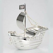 Dekolust Spardose Schiff Metall Silber Sparbüchse