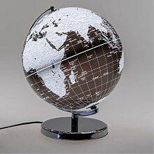 Dekoobjekt, Lampe Globus D. 30cm mit Licht schwarz
