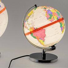 Dekoobjekt, Lampe Globus H. 20cm mit Licht creme