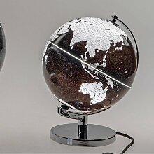 Dekoobjekt, Lampe Globus H. 20cm mit Licht schwarz