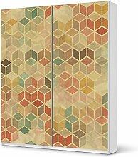 Dekor-Folie für IKEA Pax Schrank 236 cm Höhe - Schiebetür | Möbeldekor Klebesticker Tapete Folie Möbel folieren | kreativ einrichten Jugendzimmer Wohnaccessoires | Design Motiv 3D Retro