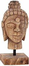 Dekoration Buddha Kopf, antikes Holz 11x11cm 13cm