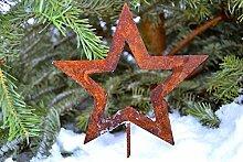 Dekoration Deko Winter Schnee Stern auf Stab Rost