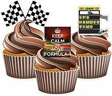 Dekoration Formel 1Lewis Hamilton–essbare Cup-Cake-Dekoration (Packung mit 12 Stück)