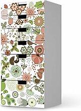 Dekoration für IKEA Stuva Kommode - 6 Schubladen | Klebefolie Möbel-Aufkleber Folie Möbeltattoo | Zimmer gestalten Deko Artikel | Design Motiv Flower Pattern