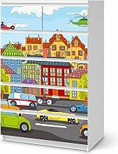 Dekoration Kinder-zimmer für IKEA Malm 6 Schubladen (hoch) | Möbel-Tattoo Deko | Fröhliche Einrichtungsideen Kinderzimmer Möbel Deko Artikel | Kids Kinder City Life