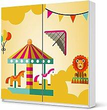 Dekoration Kinder-zimmer für IKEA PaxSchrank 201 cm Höhe - Schiebetür | Möbel-Tattoo Deko | Fröhliche Einrichtungsideen Kinderzimmer Möbel Deko Artikel | Kids Kinder Löwenstark