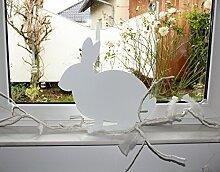 Dekoration Metall Hase Ostern- weiß 49 x 45 cm