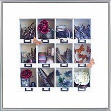 Dekoration Poster Kunstdruck und Kunststoff-Rahmen - Romantik-Kollektion Von Blumen Und Federn (40 x 40cm)