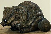 Dekoration Tierdekoration Dekobiber Biber H19 L36cm braun Kunstharz
