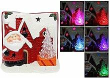 Dekoration Weihnachten aus Keramik mit Mini Weihnachtsbaum LED